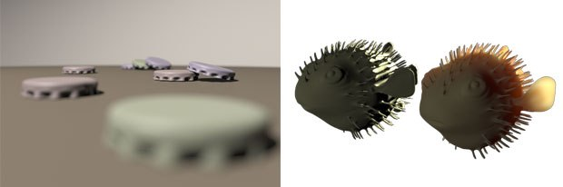 Depth-of-field scene, rendered in 1 minute, 1 second (left) and mango subsurface rendered in 45.45 seconds.