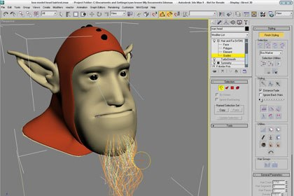 Hair and fur have made a large leap in usability in this revision. All of the functionality of the tools and the interactivity has been integrated fully into the 3ds Max viewport and Quad menus. Courtesy of Ryan Lesser.