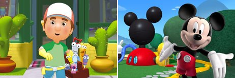 The Disneys Channels commitment to CG animation is strongest in its preschool Playhouse Disney block, which features Handy Manny (left) and Mickey Mouse Clubhouse. © Disney.