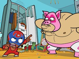 Producer Vince Aniceto finds it a challenge is to keep Fosters from looking Flashy like ¡Mucha Lucha! © 2003 Warner Bros. Animation.