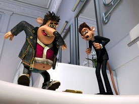 Lord says he didnt see any point just recreating a plasticine quality for the characters. Flushed Away is a hybrid. It has a textured feel to mimic stop-frame but we used motion blur, for example, much more than normal.