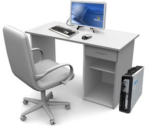 Due to its diminutive size, the system can be neatly tucked away under a desk.