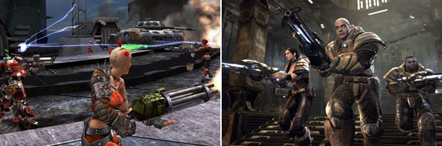 For Unreal Tournament 2004 (left), each character required 3,000 polygons, each vehicle 2,000. For UT 2007, a character represents 4 million polygons, a vehicle 3.5 million. © Atari (left) and © Midway.