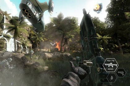 Free Radical Design created Ubisofts first-person shooter game Haze for the Xbox 360 and PS3. Haze is set in South America and is a gritty representation of how bad war can be. © Ubisoft.