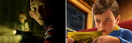 Monster House (left) is an improvement over the creepy characters that populated The Polar Express. © 2006 Columbia Pictures Industries Inc. and GH One Llc. All rights reserved (left) and © 2004 by Warner Bros. Ent. Inc.