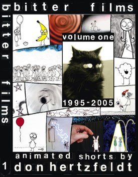 Bitter Films Vol. 1 1995-2005 collects 10 years' worth of Don Hertzfeldt's sweet animation, including the never-before-seen Spanky the Bear and other goodies. All images are (c) 1995-2006 Don Hertzfeldt /Bitter Films.