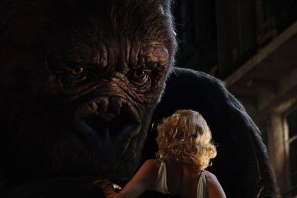 King Kong set new benchmarks in movie animation. Kong was based on an anatomically correct skeleton, and proprietary software was created to make the volume of fur required. © 2005 Universal Studios.