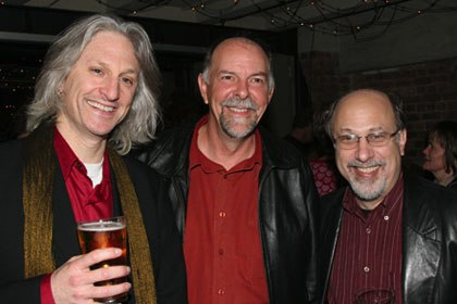 Okun (left) and Roth (right) share a light moment with Weta's co-owner Jamie Selkirk.
