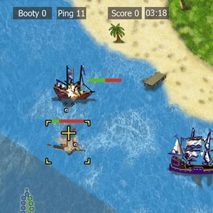 Disney's Pirates of the Caribbean Multiplayer, a casual ship-to-ship battle game developed by Floodgate Ent., allows up to 16 players simultaneously in realtime. © Disney Enterprises.