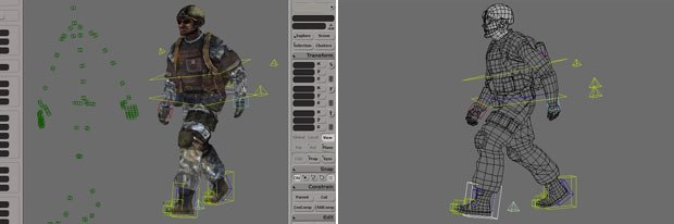 Motor, animation retargeting for XSI 6.0 (left). Animation Layers allows you add keys on top of existing animation (right). Images courtesy of Softimage Co. and Avid Technology Inc.
