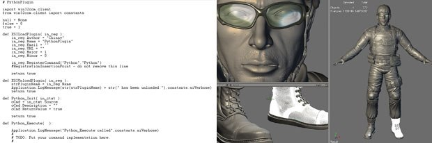 The new referencing system (right) and new programming languages for XSI 6.0. Images courtesy of Softimage Co. and Avid Technology Inc.