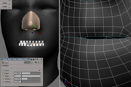 New zipping tools for XSI's Syflex cloth. Image courtesy of Softimage Co. and Avid Technology Inc.