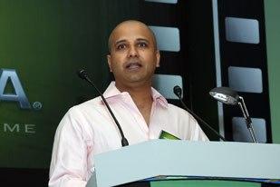 Jesh Krishna-Murthy, ceo of Anibrain, speaks at the Bollywood Intiative. Anibrain of Mumbai uses both Quadro and Gelato.