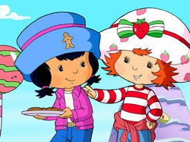 Localizing can be confusing. Strawberry Shortcake has four different names in Spanish and Portuguese. © 2003 DIC Ent. Strawberry Shortcake character designs  & © 2004 Those Characters from Cleveland Inc. Used under license. All