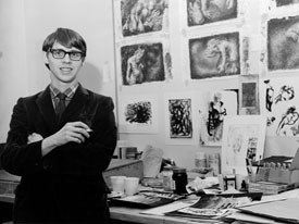 Ryan stands in front of his work in this early, undated photo. © National Film Board of Canada. All rights reserved.