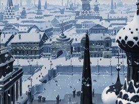 Allers and crew worked to perfect the color scheme. The cold St. Petersburg winter is made palpable by a palette of basic greys with leanings toward the violets, greens, and blues of a vibrantly-colored world desaturated by a cruel Russian winter.