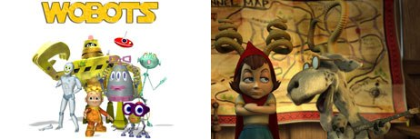 When Preston Stutzman and Blue Yonder pitched Hoodwinked! (right) to an investor, a Wobots clip turned a lackluster meeting around. © 2005, The Weinstein Co. All rights reserved (right) and © Live Bait Prods.
