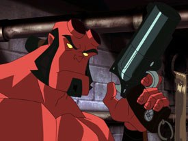 Tad Stones and Mike Mignola screened their direct-to-video Hellboy feature, Blood and Iron. They also announced that Starz Home Ent. had greenlit the script for a third Hellboy DTV, The Phantom Claw. © Cartoon Network