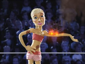 In 1998, animation locked its sights on Hollywood stars and semi-stars with Celebrity Deathmatch. Here Paris Hilton is about to enter mortal combat. © MTV2.