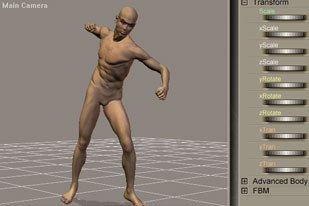[Figure 9] The default figure with a pose, expression and prop added from the Library.