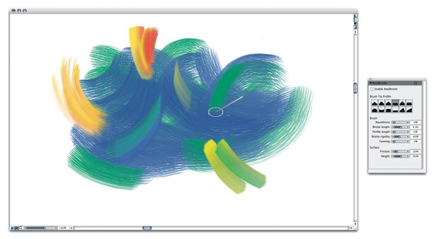 A highlight of the new Painter X is the new RealBristle painting system. This system does a much better job of simulating the interaction between the artist's brush (which is either a mouse or tablet and pen combination) and the canvas.