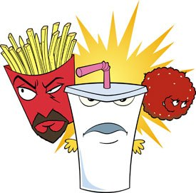 Frylock, Master Shake and Meatwad burst onto the big screen in Aqua Teen Hunger Force Colon Movie Film For Theaters. All feature images courtesy of First Look Pictures.