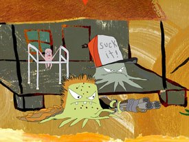 During the making of the ATHF feature, Willis worked on his own project Squidbillies (above) with Jim Fortier while Maiellaro was making 12 Oz. Mouse. ™ & © Cartoon Network.