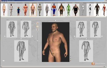 evolver builds characters from a virtual gene pool with interchangeable 3D facial features and body types that can be mixed and matched, tweaked and morphed while retaining the integrity of character rigging and other attributes.