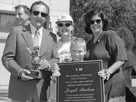 Joe Barbera, Margaret Loesch, Loesch's son and Jean MacCurdy. Image courtesy of Margaret Loesch.