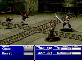 Part of Final Fantasy's appeal is that while characters may appear in sequels, subsequent games are not direct retreads of the original concept. Above is a battle scene from Final Fantasy VII.