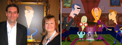 Tony Collingwood and Helen Stroud took meetings in the Nick Lounge on The Secret Show, which launched on Nicktoons a few weeks earlier. Photo credit: Sarah Baisley (l) and © Nicktoons/ Collingwood O'Hare Ent. Ltd.