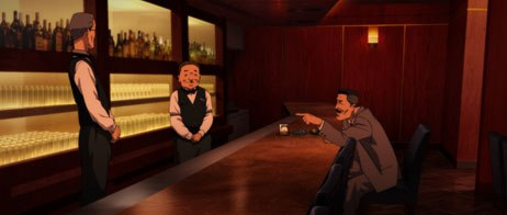 Paprika author Yasutaka Tsutsui and director Satoshi Kon lend their voice performances to the movie's short and tall bartenders, respectively.