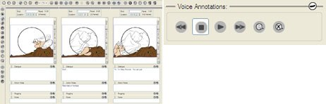 Horizontal workspace (left) and adding voice notations to your board.