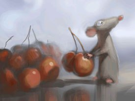 An early concept art showing Remy in the kitchen.