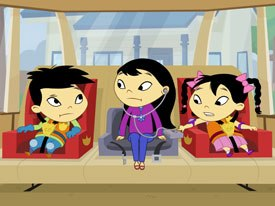 Lou and Lou: Safety Patrol is a popular interstitial for Disney Playhouse, which features Asian/American boy-and-girl twins in three-minute segments. All Disney Playhouse images © 2006 Disney Channel.