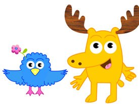Nickelodeon's Noggin service features Moose and Zee, a pair who serve as the overall channel hosts, weaving the shows and Noggin's other interstitials together. Courtesy of Nick Jr.