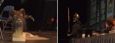 The production team for Prince Caspian shared an animatronic head and warrior costume with the audience.