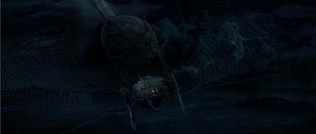 Many action sequences during the course of the film involved the flying vessel. Courtesy of Double Negative.