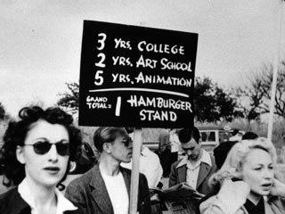Animators walk the picket line during the 1941 Disney strike.