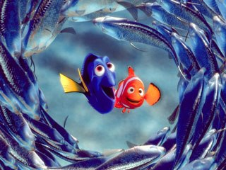The non-acting fish were under AJ's control in Finding Nemo. © Disney/Pixar.