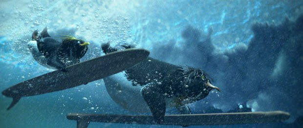 Surf's Up had a workflow that combined fully animated 3D with live-action camera moves. © Sony Pictures Animation.