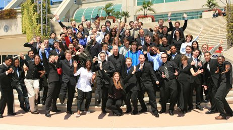 Animation Mentors grads whoop it up for a class photo at the school's second graduation ceremony held at SIGGRAPH 2007 in San Diego.