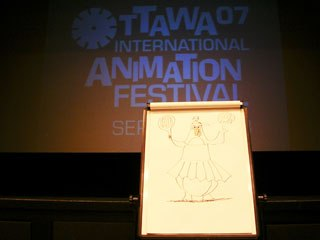 A lone penguin marks the spot where a retrospective of Canadian animator Janet Perlman's films (and Perlman herself) delighted an audience of schoolchildren.
