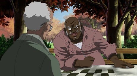 Aaron McGruder's backlash series The Boondocks delivers brilliant, mordant thrusts against the modern sensibilities of both whites and blacks. © &  2006 Cartoon Network.