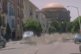 Zoic is most proud of the episode in which Dan travels back to the 1989 Santa Cruz earthquake. A couple of shots are completely created by Zoic, including one with the Palace of Fine Arts.