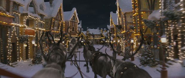 Cinesite created most of the sleigh ride sequences which were a combination of the sleigh mounted on a mechanized gimbal shot against a bluescreen, and a fully CG incarnation, including the passengers, sleigh and reindeer.