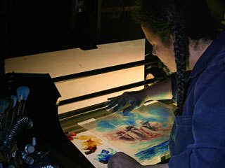 For MacPherson, Chartrand is using oil paint on glass. She animates frame by frame, working alone, © National Film Board of Canada. All rights reserved.