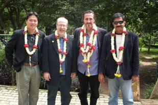 India's first VES member, N. Madhu Sudanan (right), welcomes (from left) Peter Chiang of Double Negative, and VES' Eric Roth and Tim McGovern to The VES India Tour, which stopped in five cities last fall.