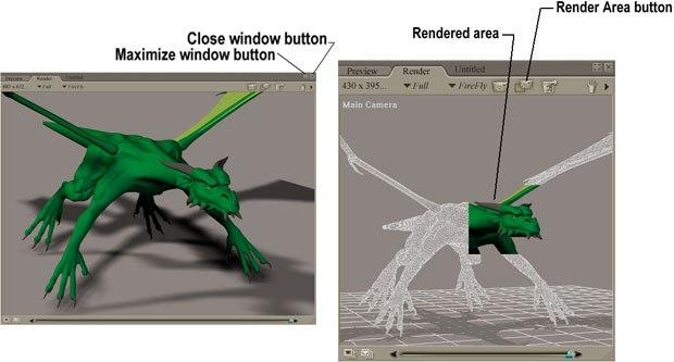 [Figure 3] Maximized render panel (left). [Figure 4] Area render (right).