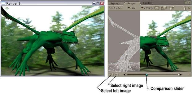 [Figure 5] New render window (left). [Figure 6] New Render window(right).